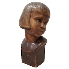 "Hans Huggler-Wyss (Swiss, 1877-1947) ""Young Child"" Wooden Sculpture c.1920"