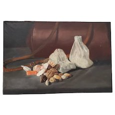 """Late 19th Century """"Holiday Nuts and Candy"""" Still Life Oil Painting c.1890s"""