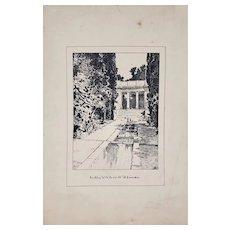 """Early 20th Century """"An Alley w/ Pools at El Fureidis"""" Original Pen and Ink c.1920"""