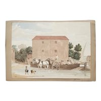 """Late 19th Century Watercolor """"Country Port"""" by Captain Foster"""