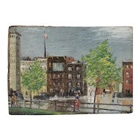 Early 20th Century American City Landscape Oil Painting by F. Haley c.1910