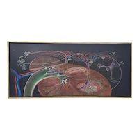"Arthur Lidov (American, 1917-1990) ""Kidney Man"" Original Surreal Oil Painting c.1965"