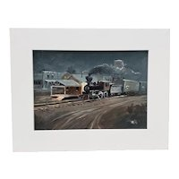Vintage Steam Locomotive Oil Painting c.1940s