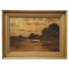 19th Century American School Luminous Landscape Oil Painting
