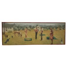 "Jeanne Urich Gorham (American, 20th c.)""Standing Figures"" Original Oil Painting c.1960s"
