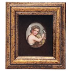 19th Century Hand Painted Porcelain Portrait of a Young Shepherd w/ His Lamb