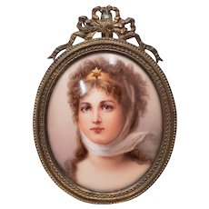 19th Century Hand Painted Miniature Portrait on Porcelain of a Beautiful Young Lady