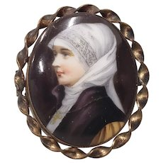 19th c. Miniature Portrait of a Nun on Porcelain w/ Brooch Frame