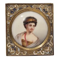 Fine 19th c. Miniature Portrait on Porcelain of a Beautiful Young Woman