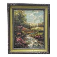 Vintage Impressionist Country Garden Landscape c.1945