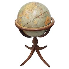 Vintage 16 Inch Weber Costello World Globe on Stand c.1930s