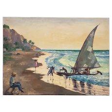 Mid-Century Modern Caribbean Landscape Oil Painting c.1950s