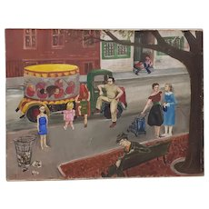American Folk Art Oil Painting by Patten Hansom Maximoff c.1940s