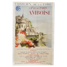 """Vintage French Poster """"Chateaux de la Loire"""" Amboise, Paris by Varsi / JE Goosens c.1948"""