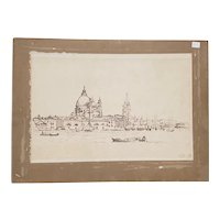 Early 20th Century Brown Wash Sketch of Venice, Italy c.1910
