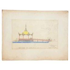 "San Francisco Bay Exposition Architect's Original Preliminary Design ""Lagoon Bandstand"" c.1938"