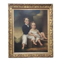 Monumental Mid 19th Century Oil Portrait of Two Siblings