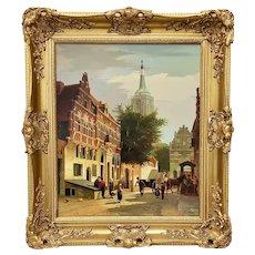 "Willem Heijkoop ""View of a Dutch Town"" Original Oil Painting 19th c."