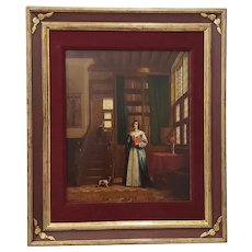 """European School """"Woman in the Library"""" Original Oil Painting Circa 19th Century"""