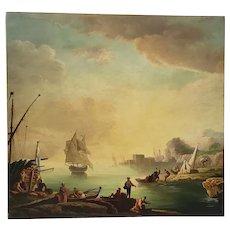"Splendid Italian School ""Port Side"" Oil Painting Early to Mid 19th Century"