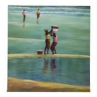"Kofi Sarfo (Ghana, West Africa) ""Helping Hand"" Original Acrylic on Canvas c.2014"