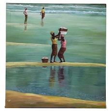 "Kofi Sarfo (Ghana, West Africa) ""Helping Hand"" Original Acrylic on Canvas c.2014"
