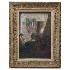 "Remarkable Impressionist ""Chinatown Tea Break"" Original Vintage Oil Painting c.1940s"