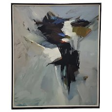 """Avis Demonte (American, 1914-1985) Mid Century Modern """"March"""" Abstract Oil Painting c.1970"""
