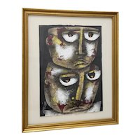 "Eduardo Exposito Gonzalez  (Cuba, b. 1964) ""Two Faces"" Original Mixed Media 20th c."