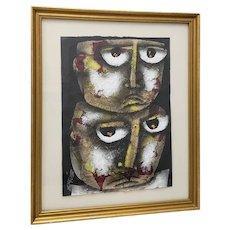 "Eduardo Exposito Gonzalez  (Cuba, b. 1964) ""Two Faces"" Original Mixed Media 20th c."