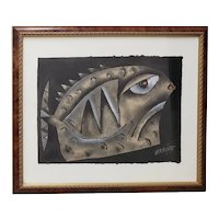 "Eduardo Exposito Gonzalez (Cuba, b. 1964) ""Fish"" Original Mixed Media 20th c."