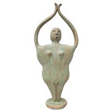"Whimsical ""Upward Salute"" Glazed Ceramic Sculpture c.2010"