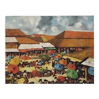 "Vintage Impressionist Oil Painting ""Beach Umbrella's"" by Matte' c.1950s"