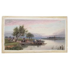 "Late 19th to Early 20th Century ""Horse Ferry"" Watercolor Painting"
