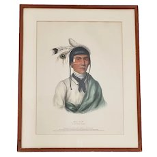 "McKenney and Hall ""No-Tin, A Chippewa Chief"" Hand Colored Lithograph c.1842"