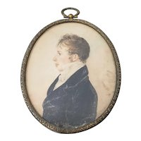 19th Century Watercolor Portrait Miniature of a Young Man