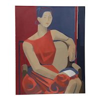 "Vintage Oil Portrait ""Woman in Red"" c.1960s"