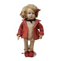 Vintage Lenci Doll with Red Coat, Shoes and Hair Bow