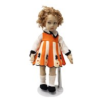 Vintage Lenci Doll with Orange & White Striped Dress with Flowers