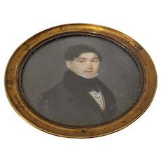 19th Century Miniature Portrait of a Handsome Young Man