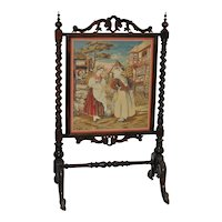 19th C. Hand Carved Mahogany & Petit Point Fire Screen