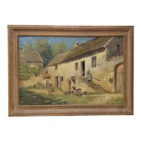 Edwin A Turner (1854-1899) Large Scale 19th Century European Farm House Oil Painting c.1890s