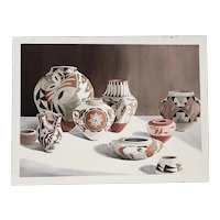 "Camille Young (American, 20th c.) ""Southwest Pottery"" Original Watercolor c.1987"