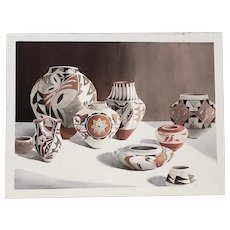 """Camille Young (American, 20th c.) """"Southwest Pottery"""" Original Watercolor c.1987"""