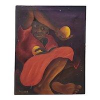 "M. Dresrosiers (Haitian, b.1927) ""Woman w/ Citrus"" Original Oil Painting c.1950s"