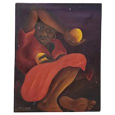 "M. Dresrosiers (Haitian, b.1927) ""Woman w/ Citrus"" Original Oil Painting c.1950s"