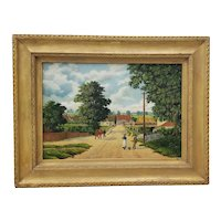 """Early 20th Century """"Country Road Landscape w/ Figures"""" Oil Painting by H. Mallett"""