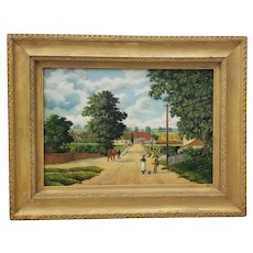 "Early 20th Century ""Country Road Landscape w/ Figures"" Oil Painting by H. Mallett"