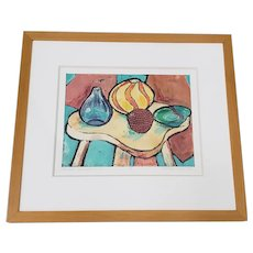 "Ingrid Caras (America, 20th c.) ""Modern Glassworks No. 2"" Original Monotype 20th c."