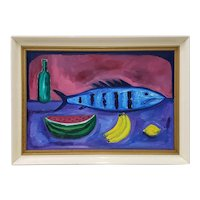 Mid Century Still Life Oil Painting With Fish by Taylor